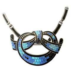 Margot de Taxco Sterling Silver Enamel Mexican Modernist Necklace or Brooch