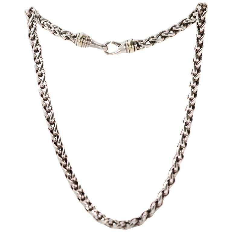 David Yurman Wheat Chain Choker Necklace in Sterling Silver and 14 Karat Gold