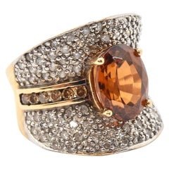 14 Karat Yellow Gold, Diamond and Golden Topaz Fashion Ring