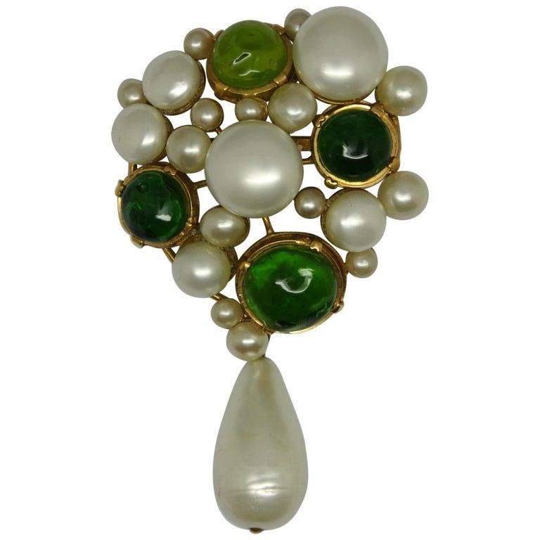 Vintage Chanel Green Gripoix Poured Glass Faux Pearl Drop Brooch Pendant