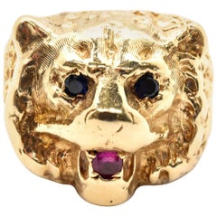 14 Karat Yellow Gold Ruby and Sapphire Bear Animal Head Ring