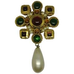 Vintage Chanel Multi-Color Gripoix Poured Glass Baroque Pearl Drop Brooch