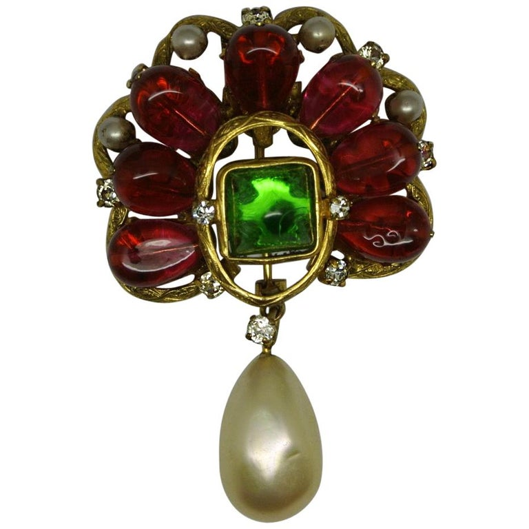 Vintage Chanel Red Green Poured Glass Gripoix Pearl Drop Brooch Pendant