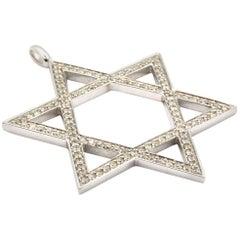 Star of David 1.25 Carat Diamond 14 Karat White Gold Pendant