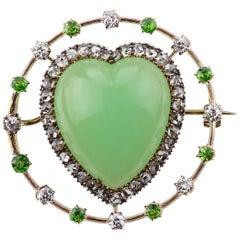 Victorian Chrysophrase, Demontoid Garnet and Diamonds Set Heart Shape Brooch