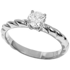 Chaumet Diamond Platinum Torsade de Chaumet Solitaire Ring US 4.5