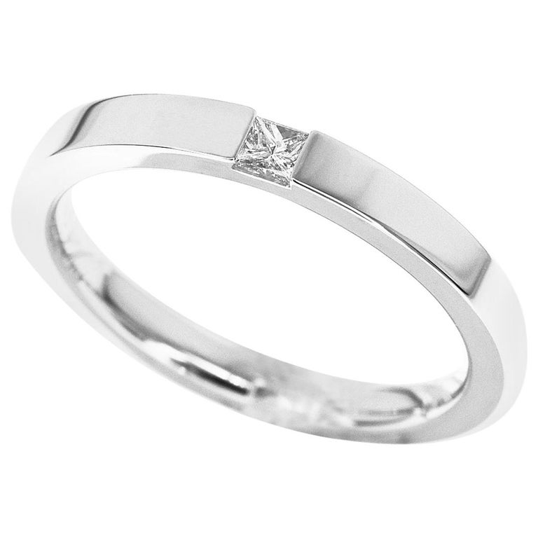 Harry Winston Diamond Platinum Princess-Cut Single Wedding Band