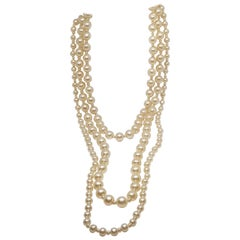 Vintage Chanel Multi Strand Bead 18 Karat Gold Plated Runway Pearl Necklace