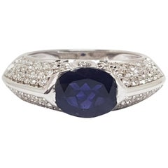Piaget 18 Karat White Gold Pave Diamond Oval Blue Sapphire Engagement Band Ring