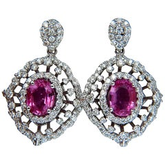 6.42 Carat Natural Intense Fancy Pink Sapphire Diamonds Dangle Earrings 14 Karat