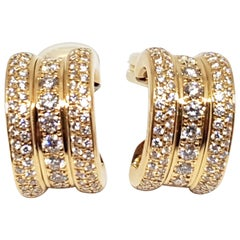 Chopard La Strada Original 18 Karat Yellow Gold White Pave Diamond Hoop Earrings