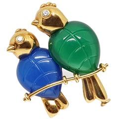 Cartier Love Bird's 18 Karat Yellow Gold Blue Green Chalcedony Pin Brooch