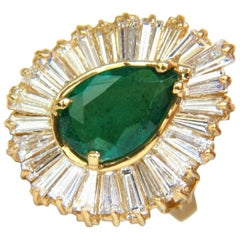 5.35 Carat Natural Emerald Diamond Ring Ballerina Cocktail Cluster 18 Karat Best