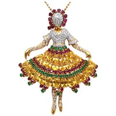 Ballerina White Diamond Yellow Sapphire Gold Red Ruby Emerald Pendant Brooch