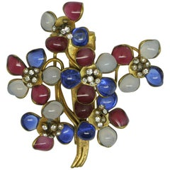 Vintage Gripoix Red Blue Poured Glass Flower Dressclip Brooch