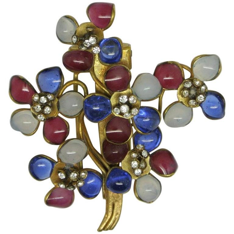 Vintage Gripoix Red Blue Poured Glass Flower Dressclip Brooch