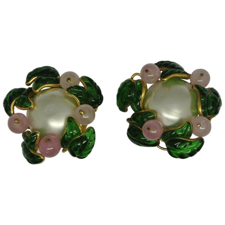 Vintage Chanel Flower Green Leaf Gripoix Poured Glass Faux Pearl Earrings