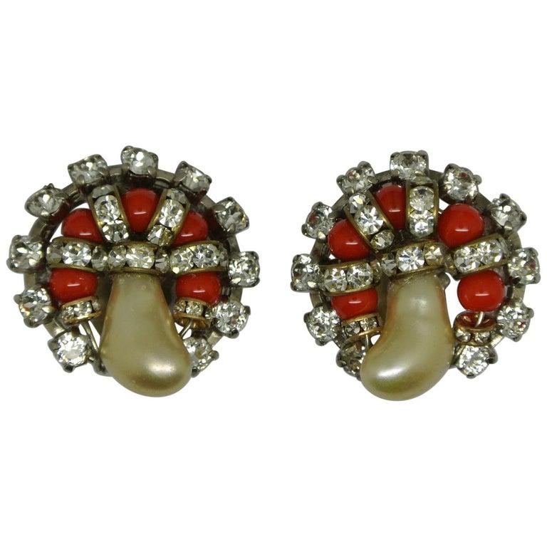 Vintage Chanel Orange Glass Faux Pearl Earrings