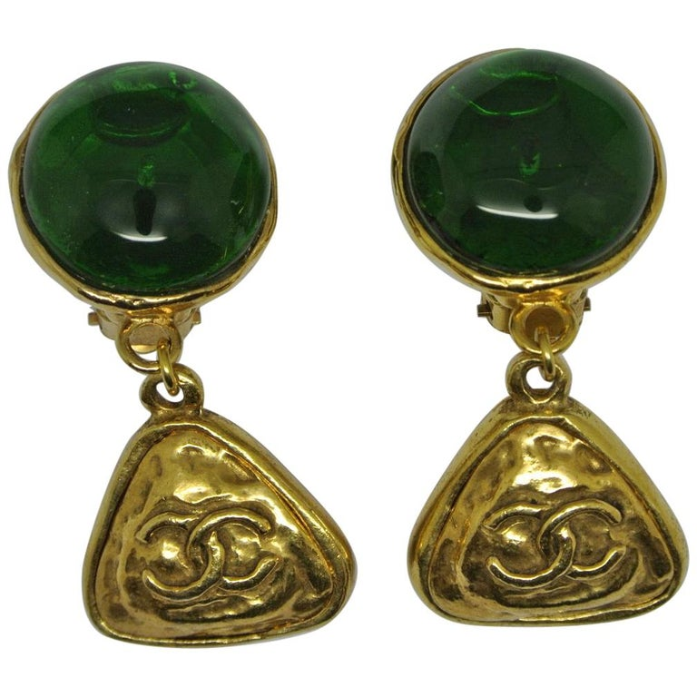 Vintage Chanel Green Poured Glass Logo Drop Earrings