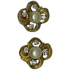 Vintage Chanel Faux Pearl Gold-Tone Earrings