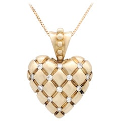 14 Karat Yellow Gold Diamond Heart Pendant Necklace