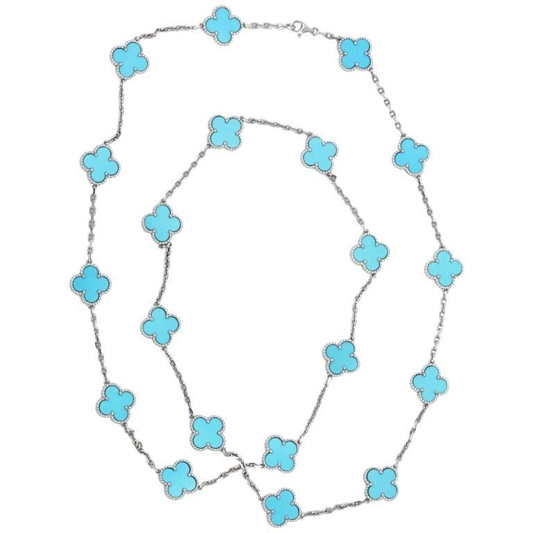 Van Cleef & Arpels 18 Karat White Gold Turquoise Alhambra Necklace