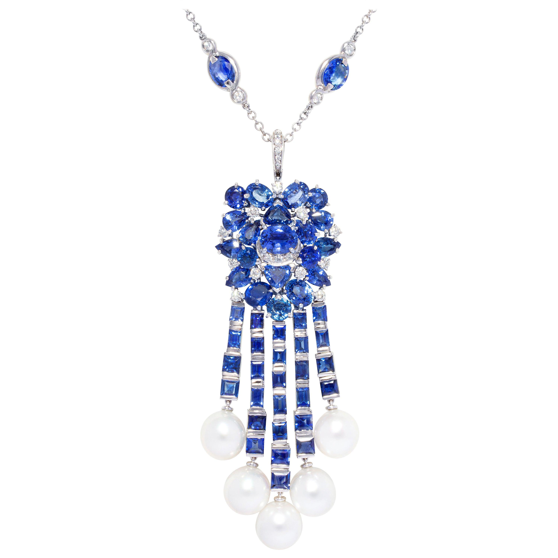 Ella Gafter Blue Sapphire Diamond Pearl Necklace