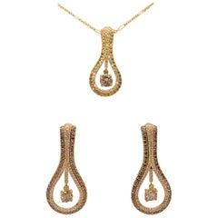 Diamond Pendant and Earrings Set