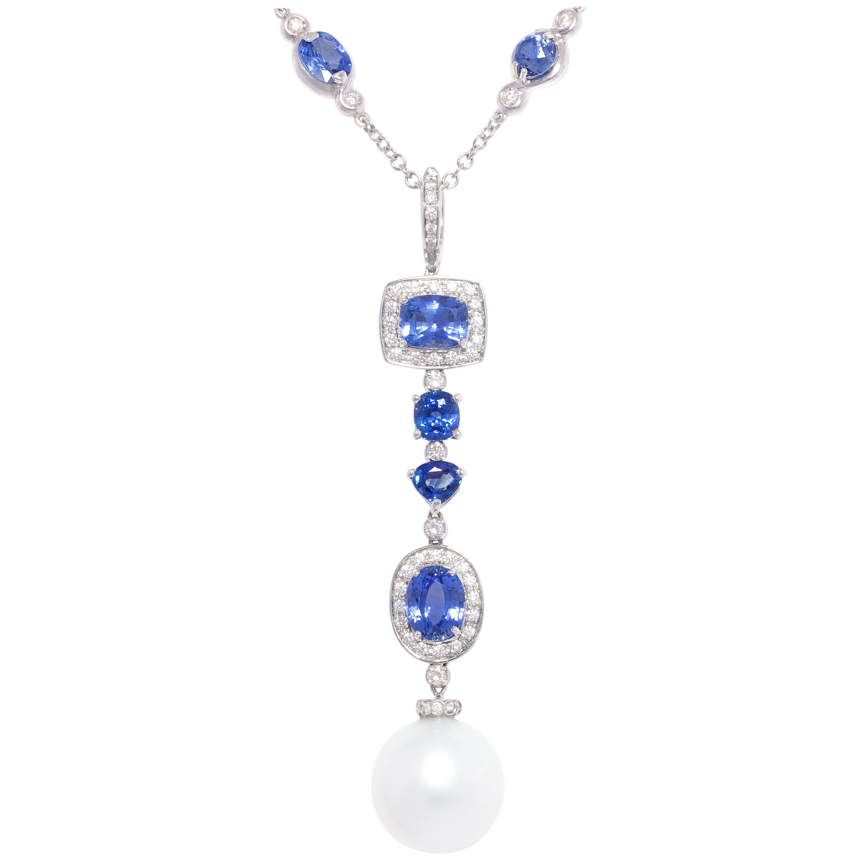 Ella Gafter Blue Sapphire Pearl Necklace