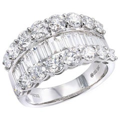 0.87 Carat Baguette 2.37 Carat Round Cut Diamond Anniversary Band Cocktail Ring
