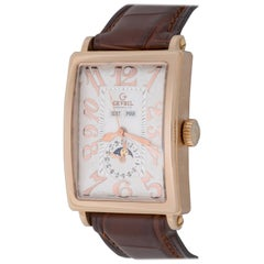 Gevril Yellow Gold Avenue of Americas Day Date Moonphase Automatic Wristwatch
