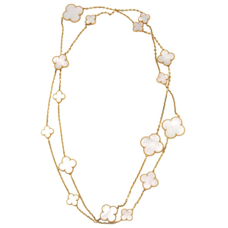 Van Cleef & Arpels Magic Alhambra Long Necklace, Yellow Gold, Mother-of-Pearl