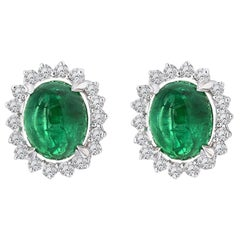 8.50 Carat Emerald and Diamond Earrings