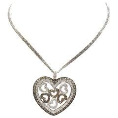 14 Karat White Gold and White/Champagne Diamond Heart Necklace 2.92 Carat