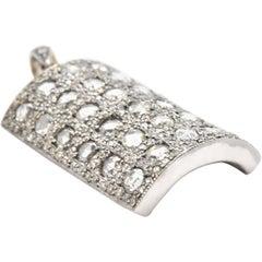 18 Karat White Gold 2.50 Carat Diamond Pendant with Rose Cut Diamonds
