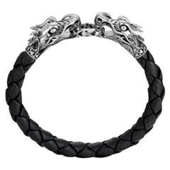 John Hardy Men's Legends Naga Silver Dragon Bracelet on Black Woven Leather
