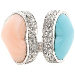 Double Heart Ring in Coral, Turquoise, Diamonds in 18 White Gold