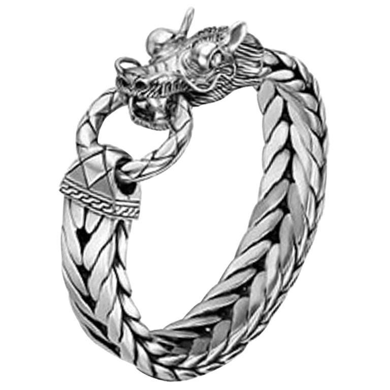 John Hardy Men S Legends Naga Silver Dragon Head Bracelet Bm65210xm For