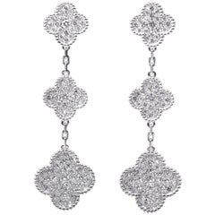 Van Cleef & Arpels Magic Alhambra Earrings, Three Motifs White Gold, Diamond