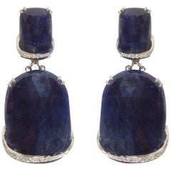 Sapphire Diamond Drop Gold Statement Earrings