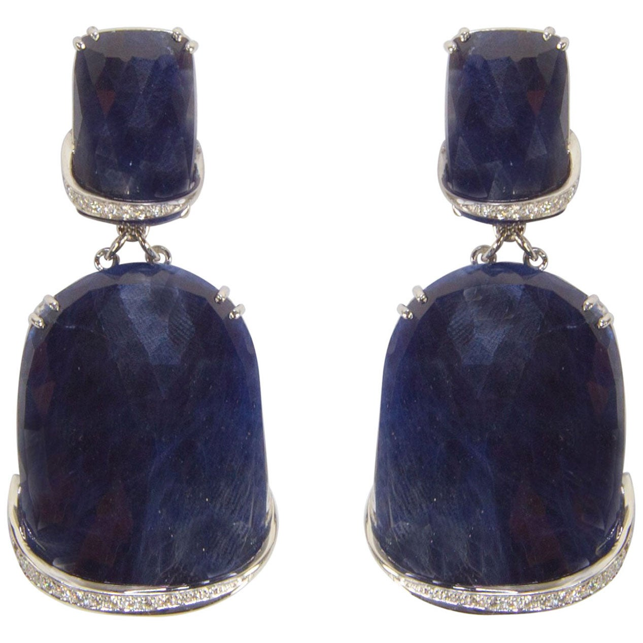 Sapphire and Diamond Drop Gold Statement Earrings Estate Fine Jewelry