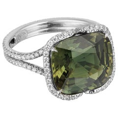 Bayco 6.92 Carat Unheated Madagascar Green Sapphire Diamond Platinum Ring