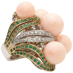 Bubbles Ring in Pink Coral, Emeralds and Diamonds