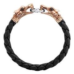John Hardy Men's Legends Naga Bronze & Silver Black Woven Leather Dragon Bracele