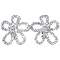 "Van Cleef & Arpels White Gold ""Flowerlace"" Diamond Earrings"