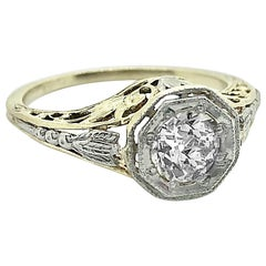 Art Deco Antique Engagement Ring 80 Carat Diamond, White and Yellow Gold, J35934