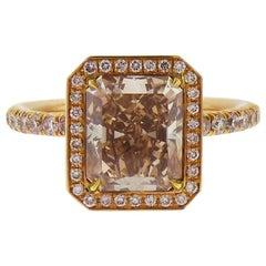 GIA Certified 3.02 Carat Fancy Brown Pink Diamond 18 Karat Rose Gold Ring