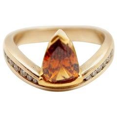 18k White/22k Yellow Gold & 0.97ct Orange Diamond Ring w Accents