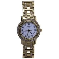 Hermes 18 Karat Gold Watch with Diamond Studded Bezel and Belt