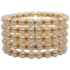 Five Row Akoya Pearl Expandable Cuff Bracelet with 14 Karat Findings